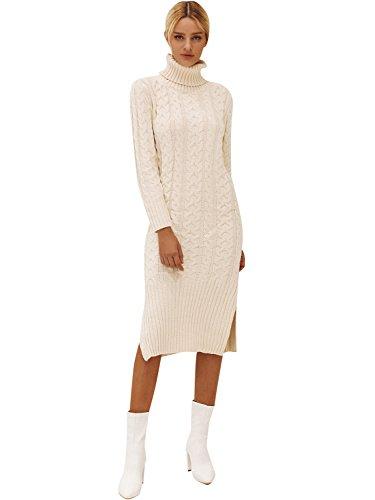 Terryfy Damen Midi Kleid Elegant Strickkleid Schlitz Rollkragen Zopfmuster Jerseykleid Pullover Beige