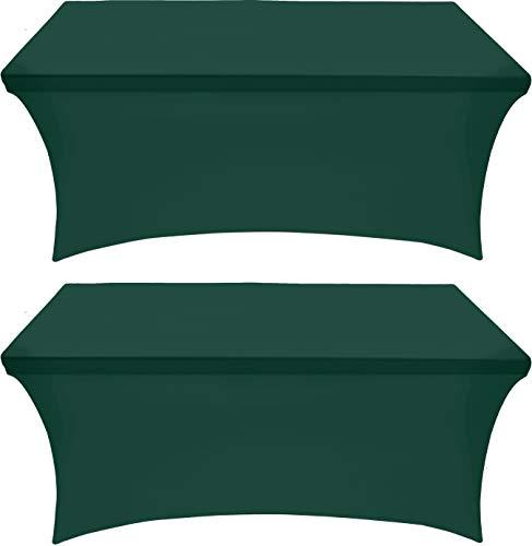 Utopia Kitchen Mantel Extensible - Cubierta de Mesa Ajustable de 6 pies (183 cm) - Mantel de poliéster y Spandex - Lavable a máquina - Resistente a Las Arrugas (Paquete de 2, Cazador Verde)