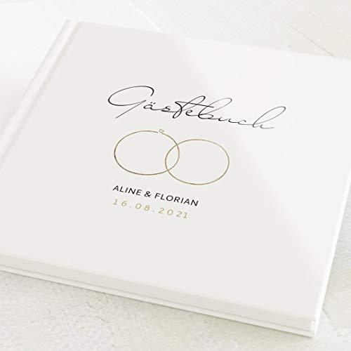 sendmoments Hochzeit Gästebuch, Rings, personalisiert mit Ihrem Wunschtext, hochwertige...