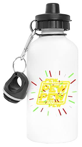 Pew Pew Pew With Lasers Aluminio Reutilizable Deporte Viaje Botella de Agua Blanco Aluminium Reusable Sport Travel Water Bottle White