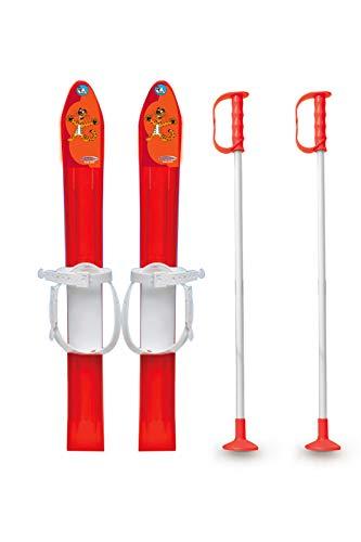 Jamara 460385 - Snow Play Ski Langlauf 1st Step 60cm rot - aerodynamische Bauweise, Skistöcke 60 cm, sichere Befestigungsschlaufen für verschiedene Schuhtypen und Größen (23 - 28)