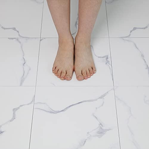 30X30cm White Marble Self Adhesive Floor Tile Vinyl Flooring 10pcs Peel and...