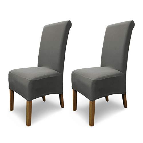Housses de chaises SCHEFFLER-Home Emma 2 Set, élastiques Couverture Spandex, Coton Couvre revêtement de Chaise, Gris
