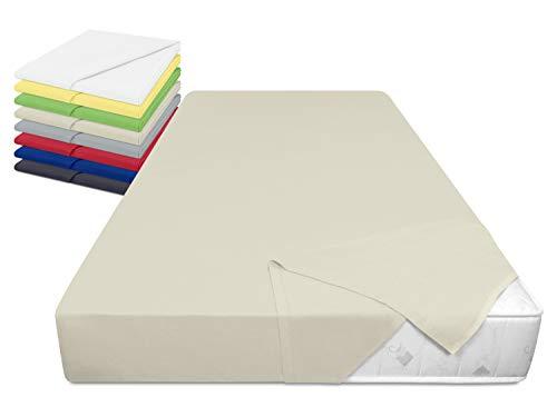 laken24 Haushaltstuch aus 100% Baumwolle - Betttuch ohne Spanngummi - ca. 150 x 250 cm - in 8, beige