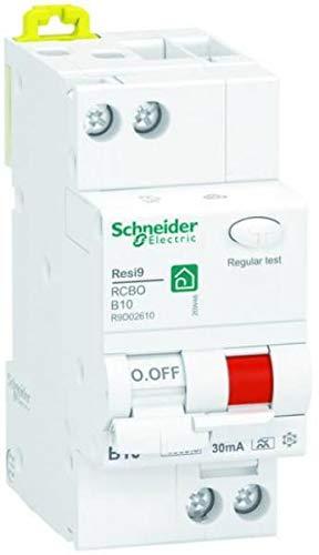 Schneider R9D41610 - Interruptor FI/LS Resi9 de 2 pines, 10 A, tipo B, 30 mA, 6 kA