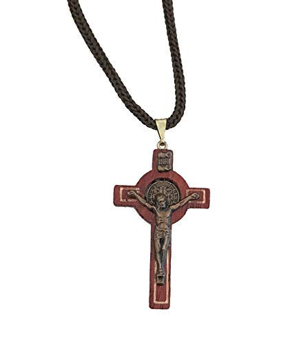 Catholica Shop I Wooden Cross Necklace Pendant I San Benito St. Benedict Wooden - Small