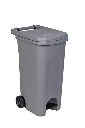 Kreher Gartentonne/Abfalltonne 80 Liter Nutzvolumen, Mülltonne mit Pedal und Müllsack-Halterung. Maße 51 x 40 x 79,5 cm. (Grau)