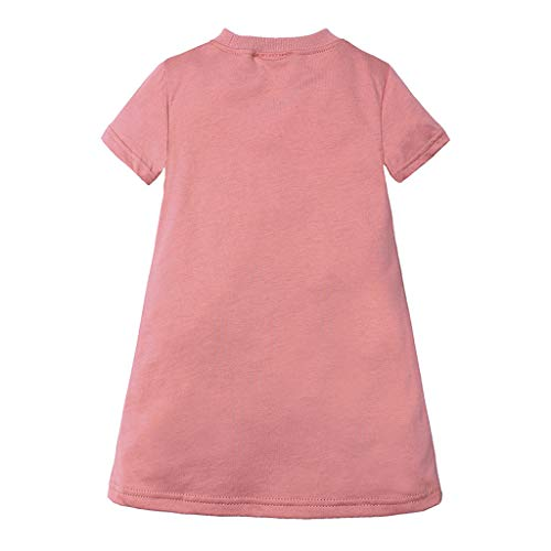 Julhold Summer Toddler Kids Baby Girl Fashion Letter Princess Dresses T-Shirt Casual Loose Breathable Clothes 1-6 Years Pink