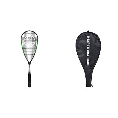 Unsquashable Squashschläger Inspire Y-6000, Long-String, 100% Carbon4, sportliches Offensiv-Racket, 296168 & 3/4 Squash-Schlägerhülle, 299998