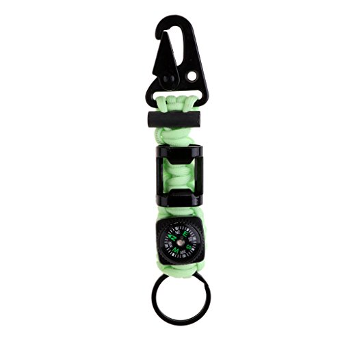 Sharplace Porte-clé Camping Crochet Anneau et Mousqueton Simple avec Boussole et Ouvre-Bouteille - Noctilucent, 15,5 × 3 × 1,5 cm