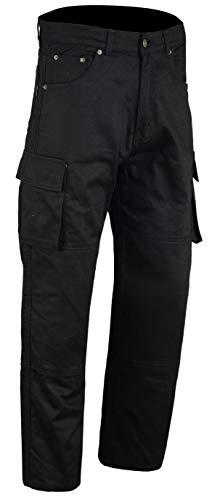 Bikers Gear UK Pantalon moto tipo Cargo con bolsillos laterales y con Kevlar anti abrasivo en el forro interior color Negro, tamaño 30S - S