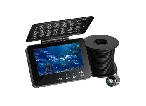 HANRICO Fischfinder Kamera, Tragbare Unterwasser-Angelkamera, HD 1000 TVL, Touch-Taste, 30M Kabel mit 4,3 Zoll LCD-Bildschirm, 8 Infrarot für Eissee, Meer, Boot, Kajak Angeln