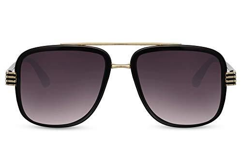 Cheapass Gafas de sol Sunglasses One Aviador Cuadradas Shades Puente plano doble Marco negro de metal dorado y lentes degradados oscuros Protección UV400 para hombre