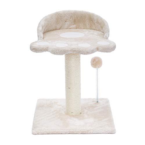 Poils bebe Tiragraffi moderno a forma di torre in sisal naturale con piattaforma e peluche a forma di palla per gatti per gattini e piccoli gatti (beige)