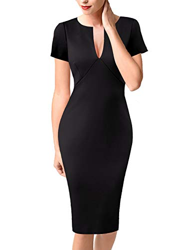 VfEmage Womens Sexy Elegant Deep V-Neck Party Cocktail Bodycon Dress 9049 BLK S