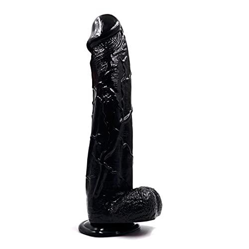 YANGYAJJ Realǐstic Dǐdos Suction Cup,12IN Ðịllö Adult Men Realistic Ðíl'dɔ Soft Flexible Personal Release Stress Massage Tool,Women Massagẹr Töy (Color : Black)