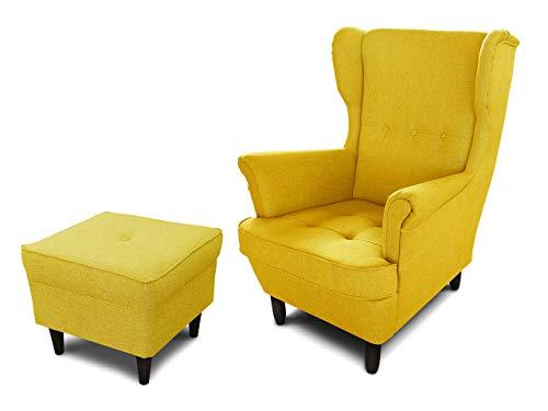 Ohrensessel Sessel King - Lounge Sessel mit Armlehnen - Retro Stuhl aus Stoff mit Holz Füßen - Polsterstuhl für Esszimmer & Wohnzimmer (Gelb (Vidar 66), mit Hocker)