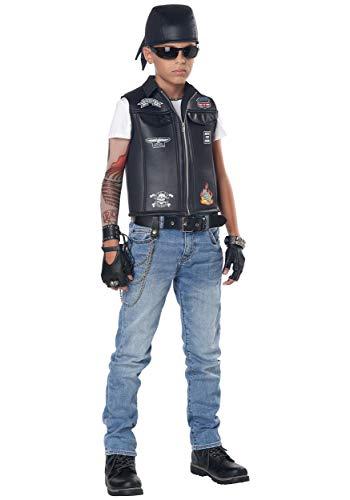 California Costumes Child Unisex Cool Kid Biker Vest Child Costume Black, Medium