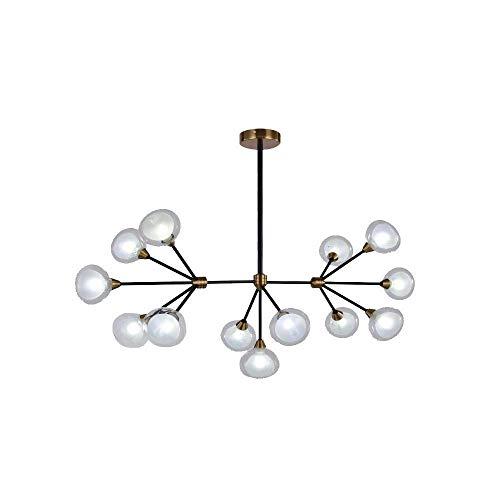 Ronde glazen lampenkap kroonluchter verstelbare armen hanglamp LED plafondlamp industriële magische bond hanglamp zwart kleur kant-en-klare hanglamp (20 lampen)