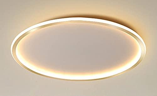 Modernas Circular Anillo LED Dormitorio Iluminación de techo 61W,Regulable Dorado Sala de estar Cocina Lámpara de techo Hierro Aluminio Gel de sílice Pantalla,Ø50CM/H5CM