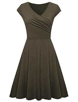 Sunnyhu Women's Cap Sleeve V Neck Ruched Midi Dress