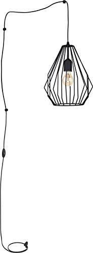 Pendelleuchte mit Schalter für Steckdose Schwarz Metall Schirm Modern Design Lampe Wohnzimmer Esstisch