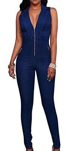 Targogo Damen Strampler Lange Vintage Mode Festival Jeans Elegant Jumpsuit Mode Ärmellos V-Ausschnitt mit Reißverschluss Stretch Skinny Cocktail Party Pantsuit Jumpsuit Sommer Gr. M, farbig
