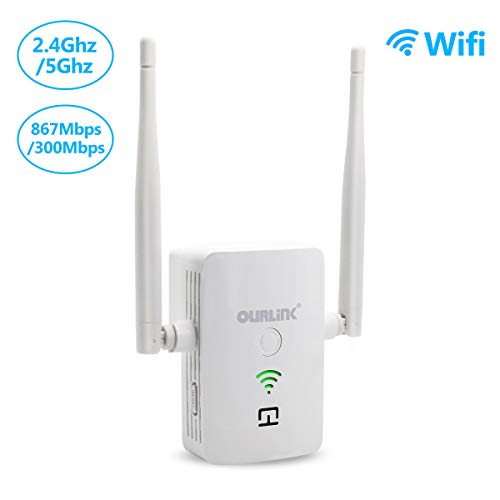 OURLiNK WiFi Extender with WPS Internet Signal Booster - Wireless Repeater 2.4 & 5GHz Dual Band 1200mbps - Best Range Network/Compatible with Alexa/Extends WiFi to Smart Home/Alexa Devices