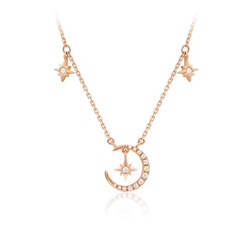 Kjiasiw Sun and Moon Necklace Chain Choker Necklace for Women and Girls (Rose Gold)