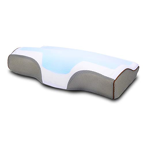 Cooling Gel Memory Foam Pillows, Contour Cervical Pillows for Neck Pain Sleeping, Bed Pillow for Side, Back and Stomach Sleepers, Relief Migraine & Shoulder Pain Orthopedic Support Pillow