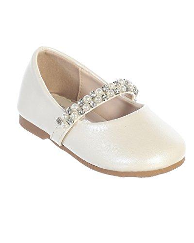 iGirlDress Infant Toddler Girls Straps Flower Girls Shoes S116 Ivory Size 5