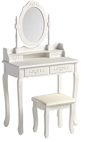 Bonnlo Girl Vanity Table Set Princess Vanity Makeup Table for Girls 4 Drawers White Dressing Table with Cushioned Stool