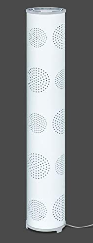 Trango Design & Modern TG1245-BW Waiki - Lámpara de pie decorativa con pantalla de tela blanca con decoración de luna
