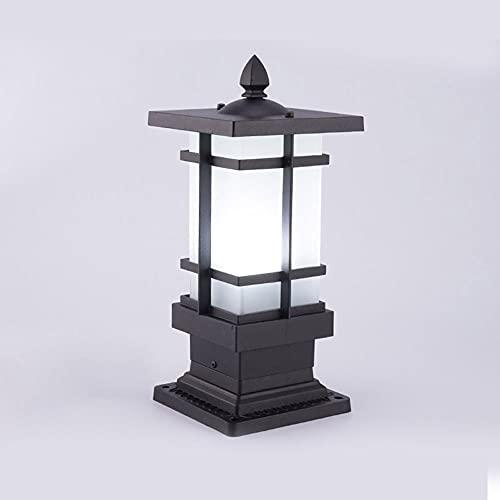 KAIKEA Linterna de Pilar eléctrica con Enchufe Negro, luz de Valla Cuadrada de Aluminio, jardín de la Villa, Patio, Mejora del hogar, luz LED de anochecer a Amanecer, Accesorio montado al Aire Libre,