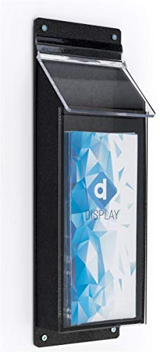 Outdoor Literature Holder 5�w x 16�h x 2�d Clear Acrylic Front with Black ABS Backer Brochure Rack � Leaflet Dispenser Has a Single Pocket for Standard Pamphlets