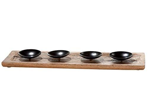 GILDE Holz Kerzentablett Rustik für 4Kerzen,Adventskranz,Advent(geliefert Wird ohne Kerzen)