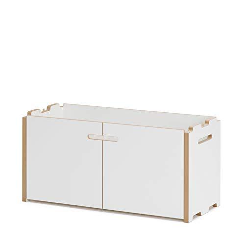 Tojo Hochstapler I Anbaumodul mit Türen für modulares Regalsystem I Grundmodul für EIN individuelles Wandregal, Bücherregal, CD Regal I MDF Regal Farbe Weiß