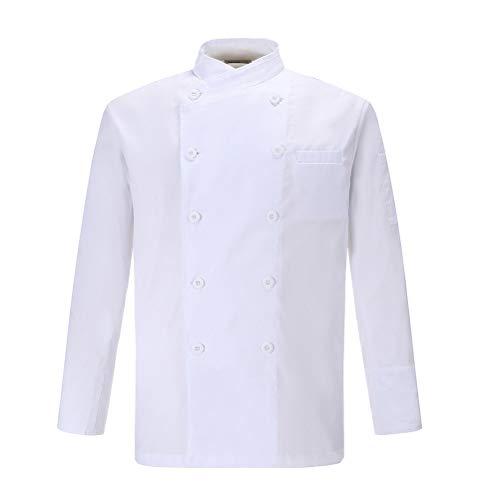 Nanxson Herren Kochjacke Bäckerjacke Weiß Langarm Atmungsaktiv Küche Uniform Arbeitskleidung CFM0028 (Weiß, M)