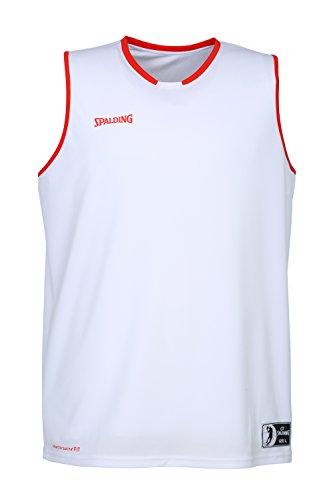 Spalding Move Tank Top Camiseta De Juego para Hombre, Blanco/Rojo, L