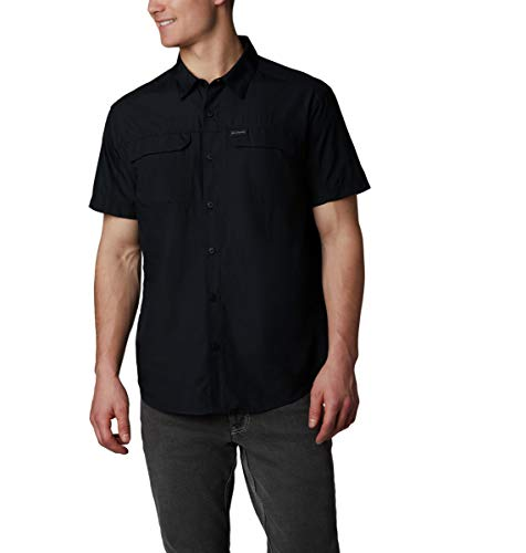 Columbia Silver Ridge 2.0 - Camisa de Manga Corta para Hombre, protección Solar UV, Tela Que Absorbe la Humedad, Hombre, 1838881, Negro, M