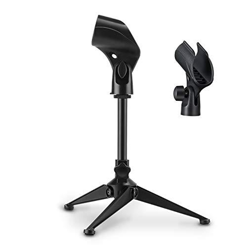 Soporte universal ajustable para micrófono de escritorio, Moukey portátil, plegable, trípode, soporte de mesa para micrófono con pequeño clip de plástico para micrófono Blue YetiBlue Snowball MMs-4