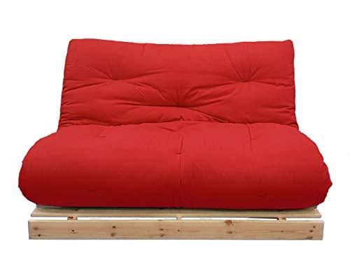 Futon On Line Sofá Cama Luna, Natural, Futon Rojo, 140x103x80 cm.
