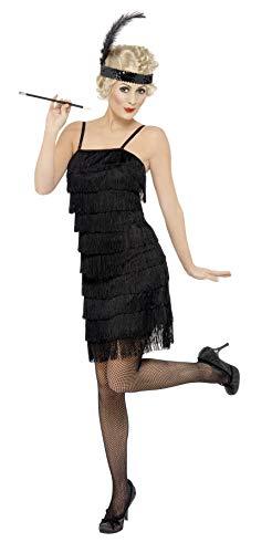 SMIFFYS Smiffy's, nero Costume da Charleston con frange, abito e copricapo con piuma Donna, M-EU Dimensione 40-42, 33451M
