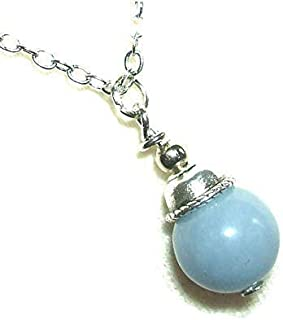 ANGELITE NECKLACE Pendant COMPASSION INNER PEACE INSPIRATION Metaphysical Sacred Stone Silver Plt