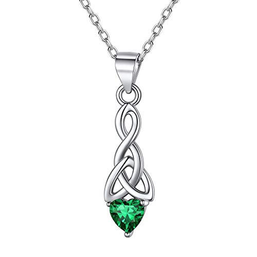 ChicSilver Irish Celtic Knot Necklace for Women 925 Sterling Silver Triquetra Trinity Knot Pendant Necklace with Heart Shape Emerald May Birthstone Jewelry