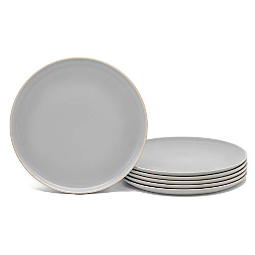 Dinner Plates, Ceramic Make, by Kook, Cloudy Gray, 10 inch, Set of 6