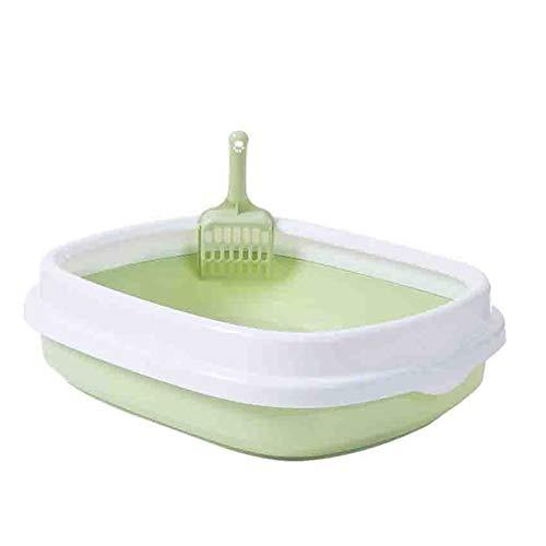 Wbcmwh Caja de Arena semicerrada del Gato, residuos de duración Propia, extraíble, fácil de almacenar, Desodorante y Anti-Gato. Inodoro Gato (Color : Green Sandbox, Size : S)