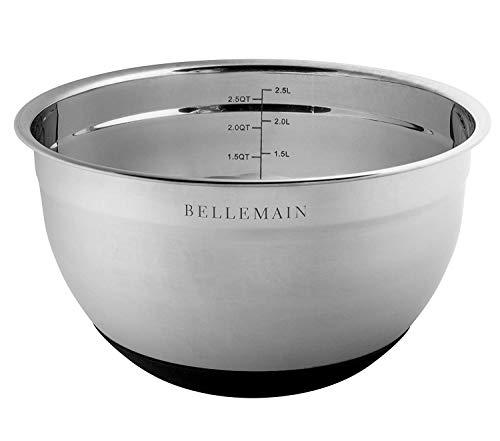 Top Rated Bellemain Stainless Steel Non-Slip Mixing Bowls with Lids, 4 Piece Set Includes 1 Qt, 1.5 Qt, 3 Qt. & 5 Qt.