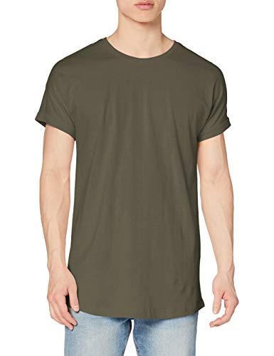 Urban Classics Long Shaped Turnup tee Camiseta, Verde (Olive 176), XL para Hombre