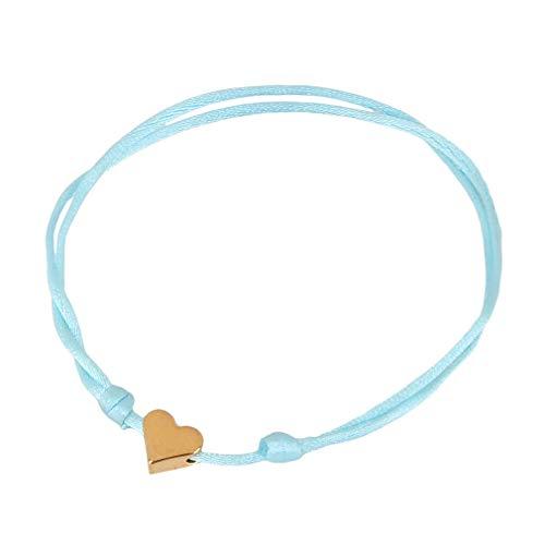 Hyhy - Pulsera trenzada con cadena fina trenzada y corazón, Cobre + alambre., Oro Amor Azul Claro, As the description